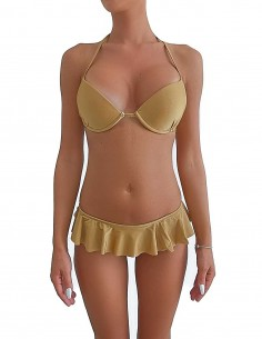 Bikini colore sabbia reggiseno maxi push up con volant slip o brasiliana