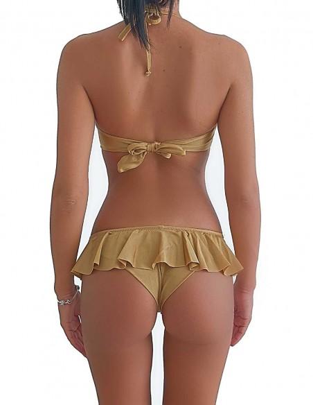 Retro del bikini colore sabbia reggiseno maxi push up Malibù con brasiliana volant Ibiza