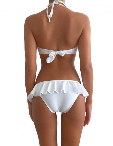 Retro del bikini colore bianco reggiseno maxi push up Malibù con slip volant Capri