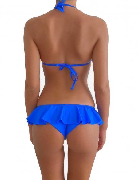 Retro del bikini blue elettrico triangolo bordato con slip volant Capri