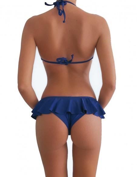 Retro del bikini blue notte triangolo bordato con slip volant Capri