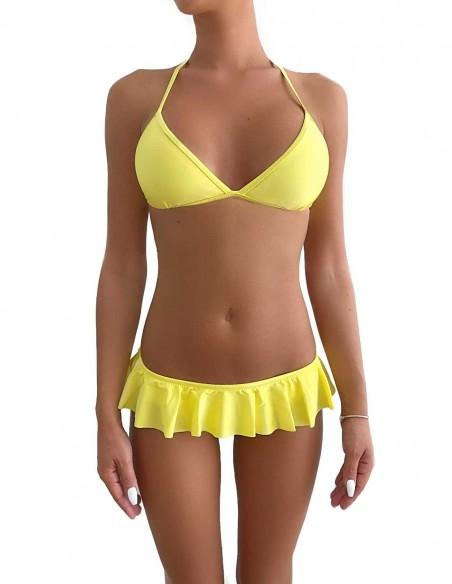 Bikini triangolo bordato colore giallo limone con volant slip o brasiliana