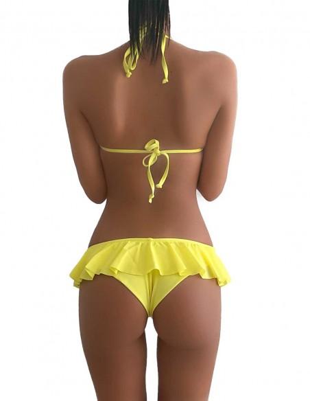 Retro del bikini giallo limone triangolo bordato con slip volant Capri