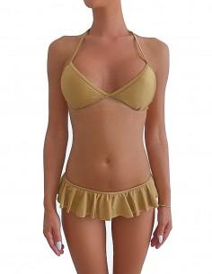 Bikini triangolo bordato colore sabbia con volant slip o brasiliana