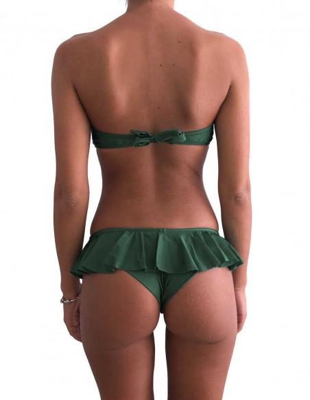 Retro del bikini verde foresta fascia push up balconcino con brasiliana volant Ibiza