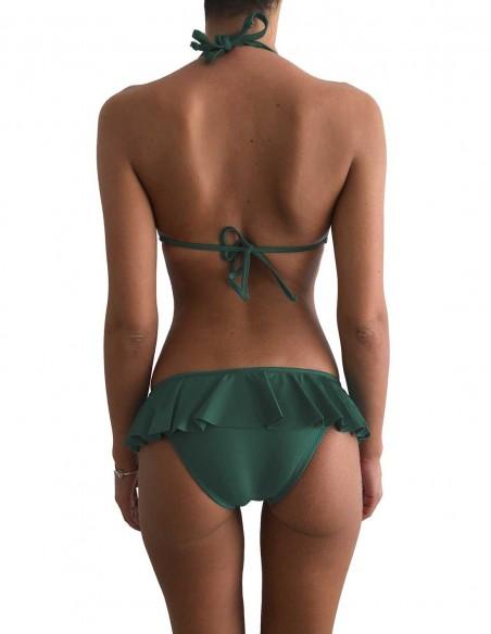 Retro del bikini verde foresta triangolo bordato con brasiliana volant Ibiza