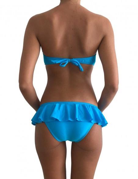 Retro del bikini azzurro fascia push up balconcino con slip volant Capri