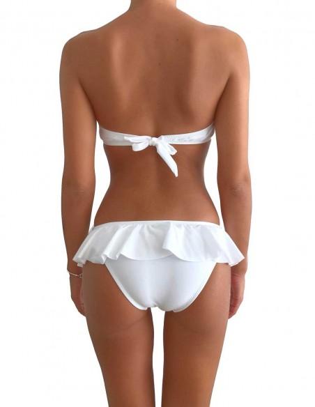 Bikini colore bianco fascia push up balconcino Greta con slip volant Capri