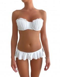 Bikini colore bianco fascia push up balconcino con volant slip o brasiliana