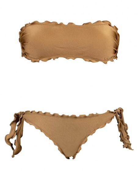 Bikini fascia con smerlo frou frou e slip o brasiliana con fiocchi