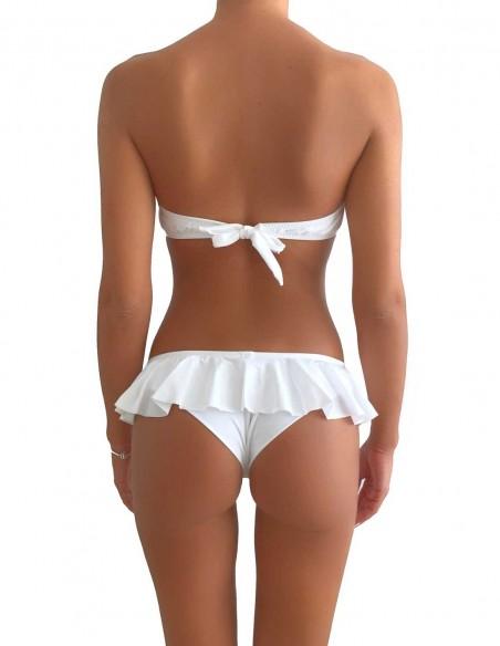 Retro del bikini colore bianco fascia push up balconcino Greta con brasiliana volant Ibiza