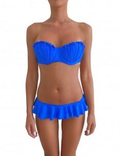 Bikini colore blue elettrico fascia push up balconcino Greta con slip o brasiliana volant