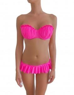Bikini colore fucsia fascia push up balconcino Greta con slip o brasiliana volant