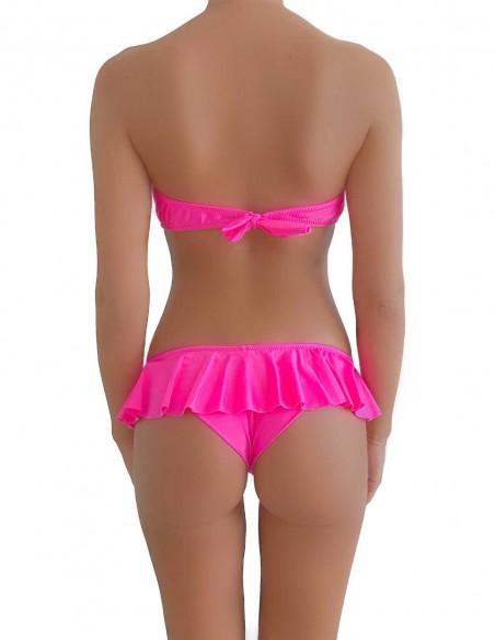 Bikini colore fucsia fascia push up balconcino Greta con brasiliana volant Ibiza