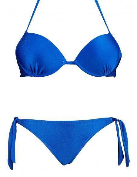 Bikini maxi push up Malibù con slip lacci Venere blue elettrico