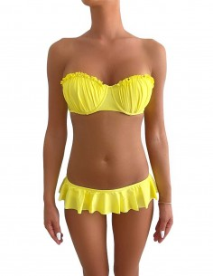 Bikini colore giallo limone push up balconcino Greta con slip o brasiliana volant