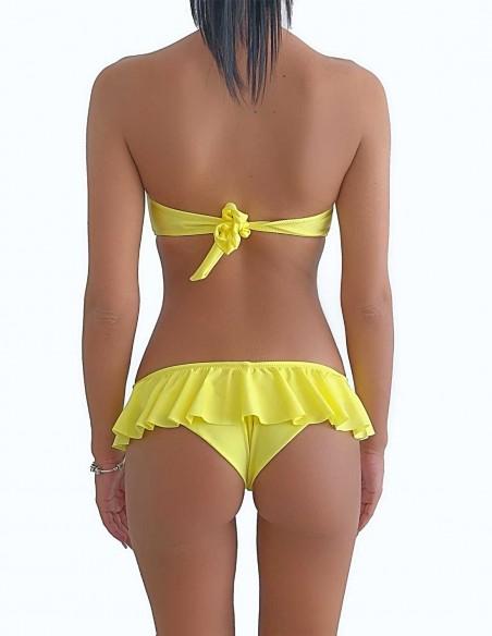 Bikini colore giallo limone fascia push up balconcino Greta con brasiliana volant Ibiza