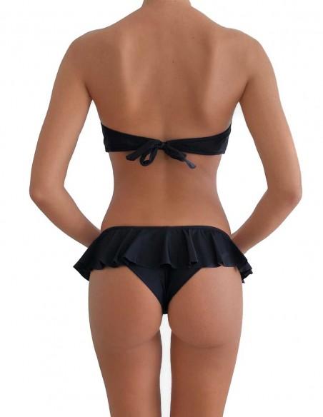 Bikini colore nero fascia push up balconcino Greta con brasiliana volant Ibiza