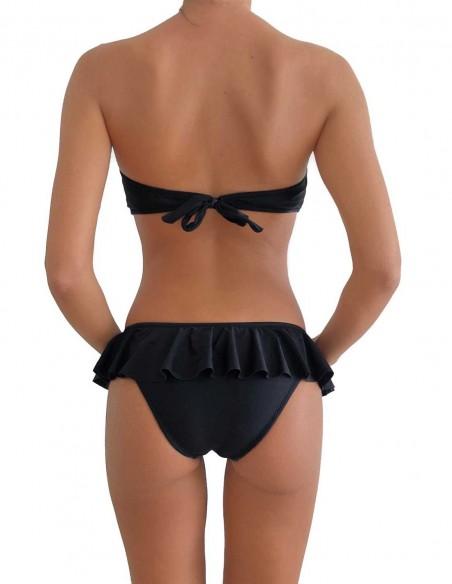 Bikini colore nero fascia push up balconcino Greta con slip volant Capri