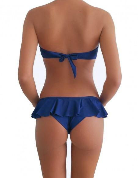 Bikini colore blue notte fascia push up balconcino Greta con brasiliana volant Ibiza