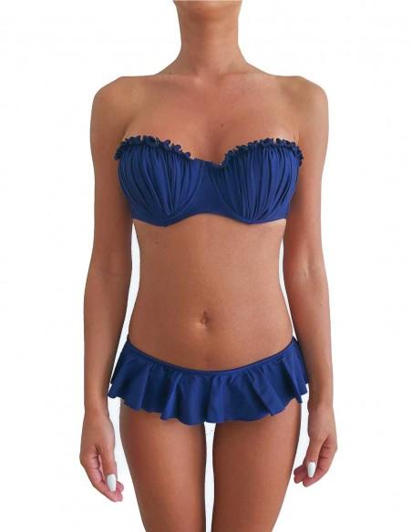 Bikini colore blue notte fascia push up balconcino Greta con slip o brasiliana volant