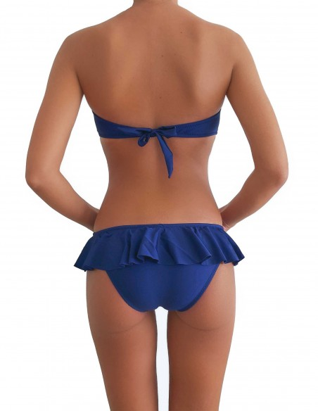 Bikini colore blue notte fascia push up balconcino Greta con slip volant Capri